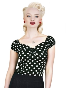 Dolores Top Polka Black New