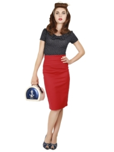 fiona Skirt Plain Red Darla