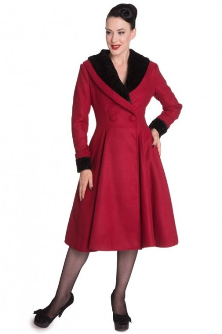 Hell Bunny 50s Retro Vintage Inspired Vivien Swing Coat Burgundy-500x750