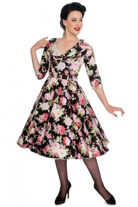 Hell Bunny Retro Vintage 50s Black Dahlia Swing Dress-500x750