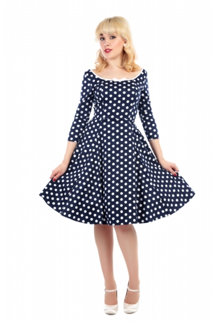 Willow Polka Dot Doll Dress Navy and White